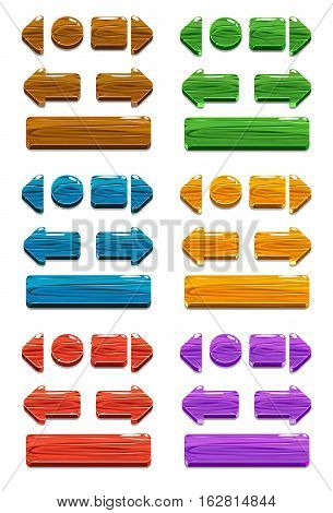 Vector Cartoon colors wood buttons for game or web design, gui elements set