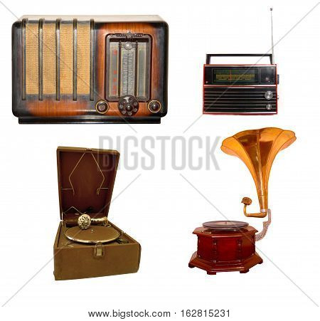 retro and brown vintage radio and gramophone