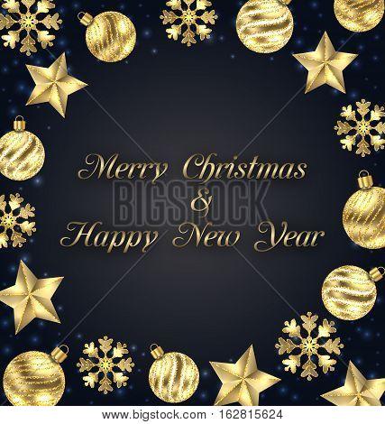Illustration Christmas Frame of Golden Baubles, Greeting Banner - Vector