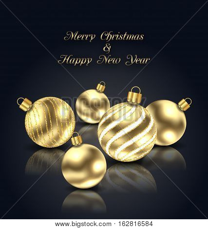 Illustration Christmas Golden Balls with Reflection on Black Background - Vector