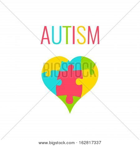Autism awareness poster with heart on white background. Heart made of puzzle pieces as symbol of autism. Solidarity and support symbol. Medical concept. Vector illustration.