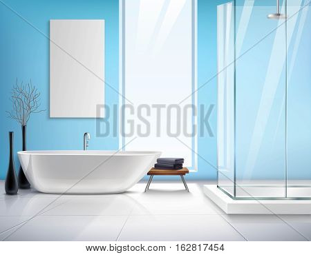 Modern light bathroom realistic interior design with white bath shower cabin decorations and accessories vector illustration