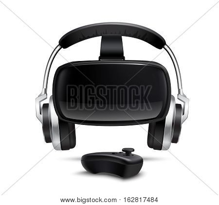 Virtual reality games simulator black headset with headphones and gamepad smartphone controlled box realistic closeup view vector illustration