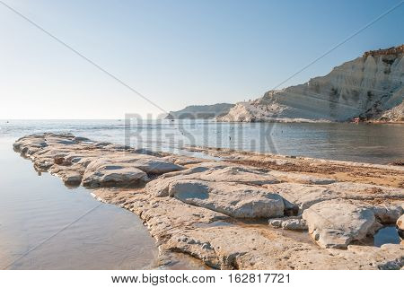 The rocky beach near the