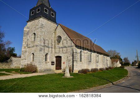 Bois Jerome Saint Ouen France - february 29 2016 : the picturesque Saint Sulpice church
