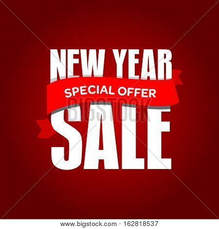 New Year Sale Badge, Label, Promo Banner Template. Special Offer Text On Ribbon