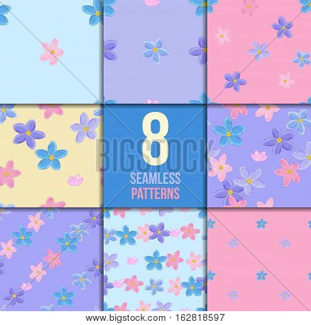 Floral seamless pattern set with forget-me-not. Vector backgrounds with flowers.