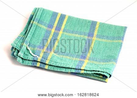 Green white checkered dishcloth, wiper isolated on white background