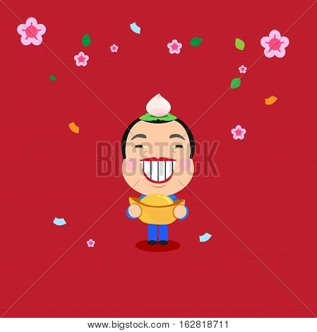 Card cover of happy new year have a smiling man and gold.