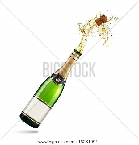 Champagne Explosion  isolated on white background .