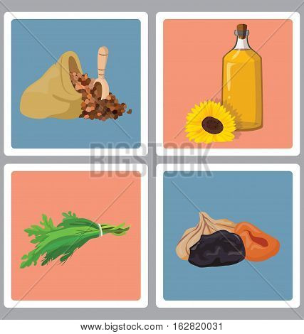 grains herbs and dried fruits oil - useful products. For your convenience each significant element is in a separate layer. Eps 10