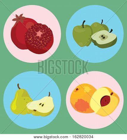 pomegranate apple pear peach - healthy fruit. For your convenience each significant element is in a separate layer. Eps 10