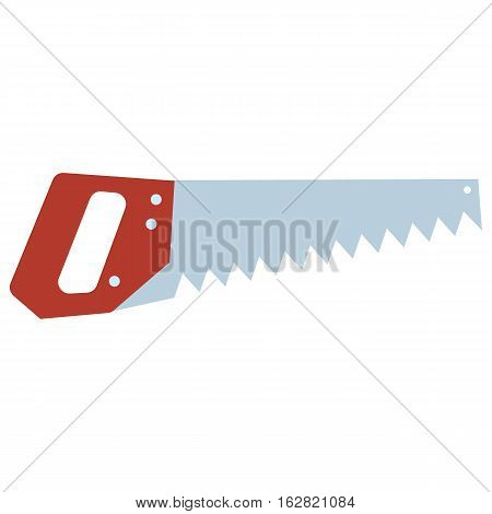 Hand saw tools hand equipment flat. Vector illustration isolated on white.