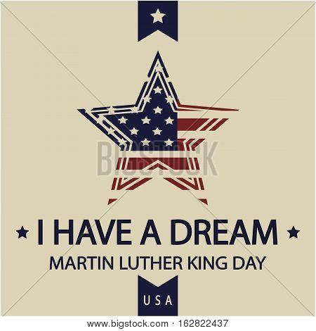 Martin Luther King day card or background vector illustration.