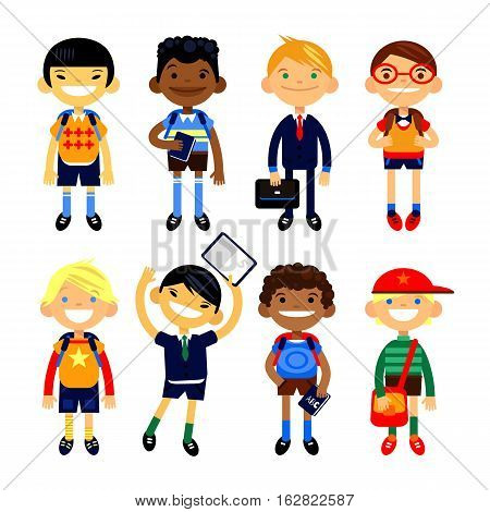 Set of characters elementary schoolchild, school students on a white background. Schoolboys different nationalities. Vector illustration flat design