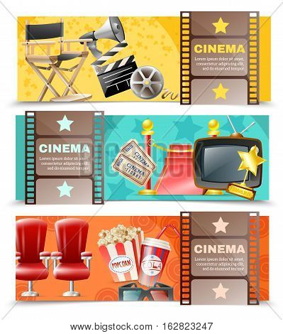 Cinema movie theater and film making 3 horizontal retro banners set with clapper board isolated vector illustration