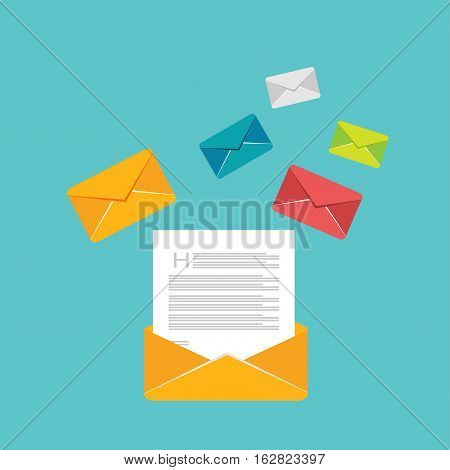 Reading inbox messages. Email vector icon. Open new message.