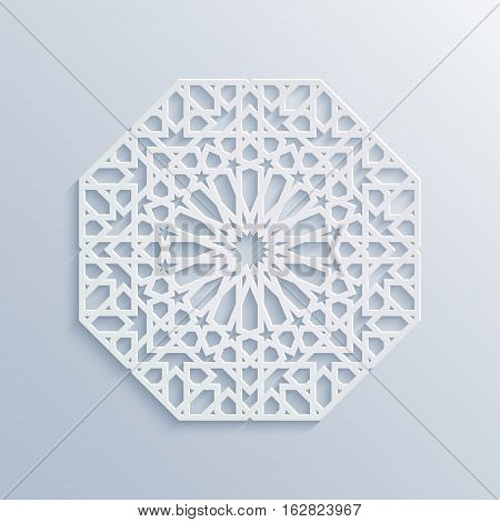 Vector muslim mosaic persian motif. Mosque decoration element. Islamic geometric pattern. Elegant white oriental ornament traditional arabic art. 3D mandala for brochures invitations greeting card