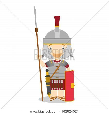 Character from Italy dressed in the traditional way as a Roman Legionary. Vector Illustration. Kids of the World Collection.