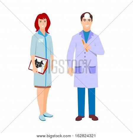 Vector illustration of man and psychotherapist woman in white coat. Flat style different ophthalmologist doctors characters. Professional cartoon pediatrician medical human worker.