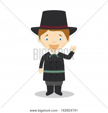 Character from Latvia dressed in the traditional way Vector Illustration. Kids of the World Collection.