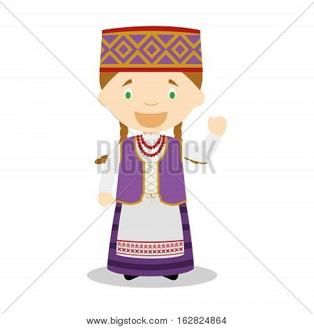 Character from Lithuania dressed in the traditional way Vector Illustration. Kids of the World Collection.