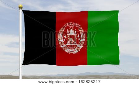 Afghanistan flag waving against blue sky and clouds, close up, isolated
