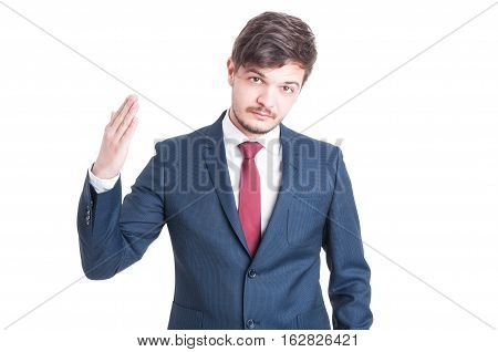 Business Man Standing With One Hand Raised