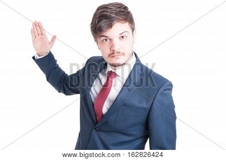 Business Man Standing Looking Violent With Hand Up