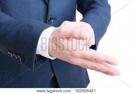 Close-up Of Business Man Hand Arranging Cuff Shirt
