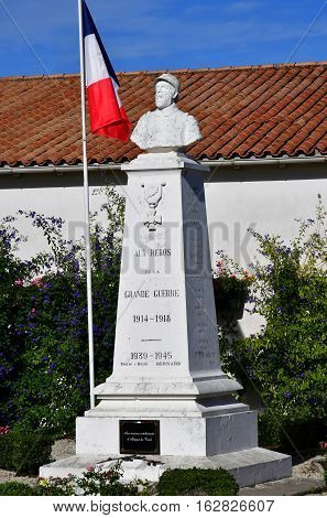 Saint Clement des Baleines France - september 26 2016 : the war memorial