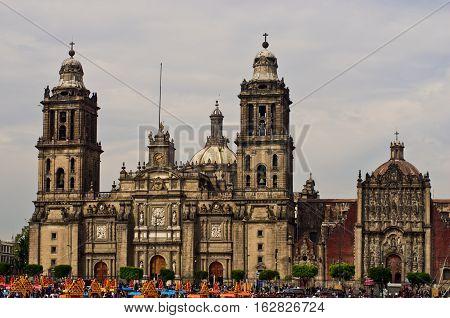 Mexico City Mexico - October 28 2016: Zocalo decoration for the Day of Dead (Dia de los Muertos) - Mexico City Mexico