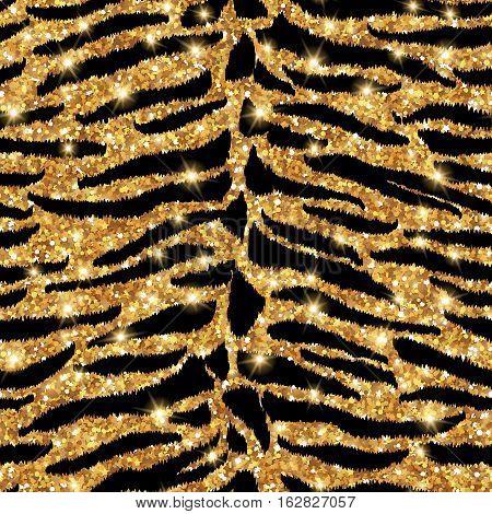 Seamless tiger gold pattern. Vector illustration. Shining fashion wild background. Chic animal print. Glittering festive backdrop or tiling.