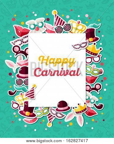 Carnival Concept Banner with Icons Stickers on Blue Backdrop. Vector Flat Illustration. Square White Frame with Place for your Text. Photo Booth Party Elements.