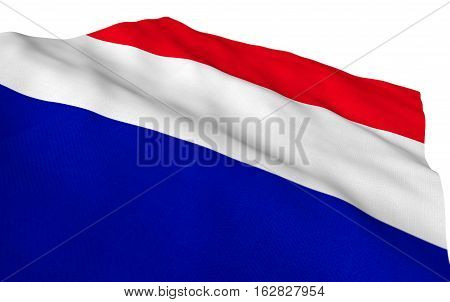 french flag flowing detailed, TEXTURED over white background. Part of a set