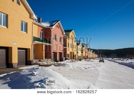 Newly Built Suburban Row Houses during winter time
