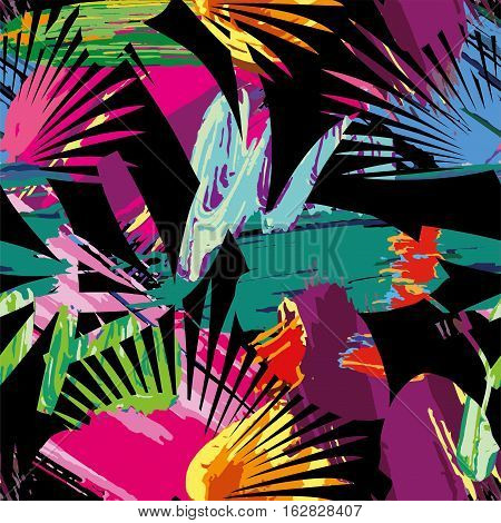 Print summer exotic jungle plant tropical palm leaves. Pattern seamless paint vector on the black background. Nature wallpaper done with clipping mask