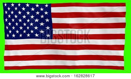 American flag textured with details blowing in the wind, ruffled over green screen.