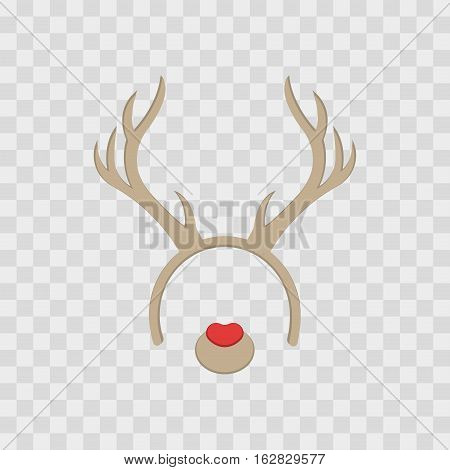 Funny mask with Christmas reindeer horns isolated on transparent checkered vector illustration. Cartoon Cute Headband with Ears
