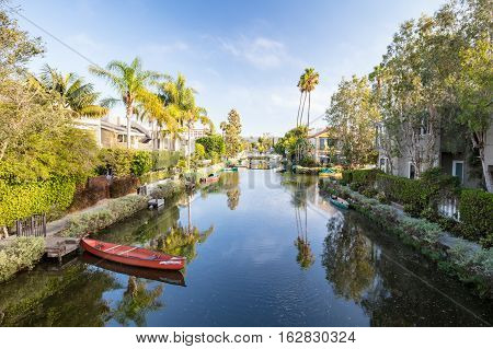The iconic area of Venice canals on a hot autumn day in Venice, California, USA