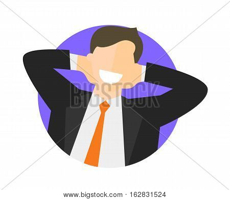 Satisfied relaxing businessman flat icon. Work done concept. Happy impersonal man. Vector image