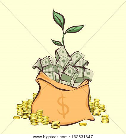 Money bag with bunches of dollars coins stacks beside and money tree sprout cartoon style isolated vector illustration