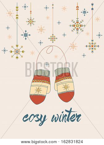 cosy winter card with mittens and snowflakes in tribal style on pale-pink tone background. season design