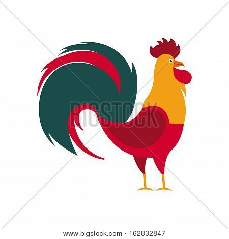 rooster icon over white background. chinese new year concept. colorful design. vector illustration