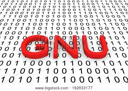 GNU in binary code background  3D illustration