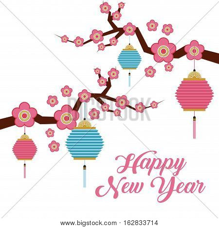 chinese lanterns and  branch with flowers decorations. happy new year concept. colorful design. vector illustration