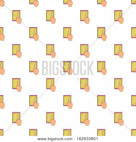 Cartoon illustration of e-book and hand vector pattern for web