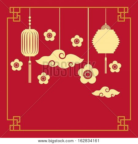 silhouette of chinese lanterns and flowers decorations hanging over red background. colorful design. vector illustration