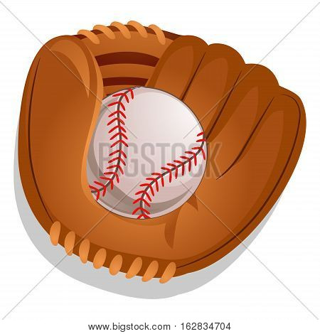 Vector Illustration of Baseball Gloves with Ball