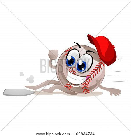 Vector Illustration of Baseball Mascot Sliding to Base Plate